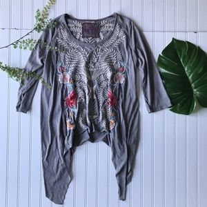 Johnny Was floral embroidered grey flare top